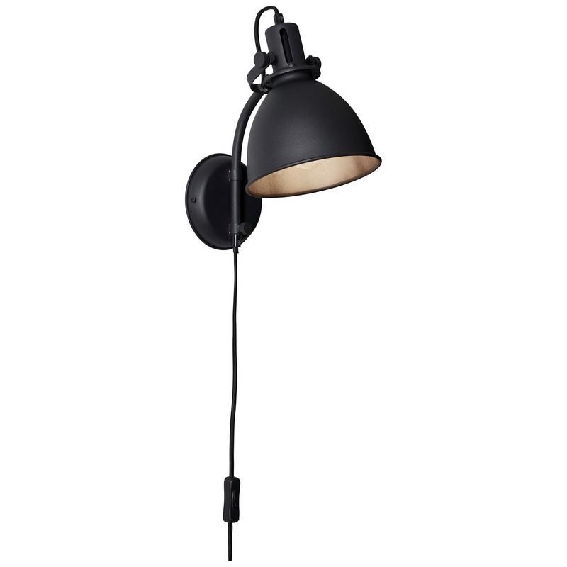 Industriële wandlamp Vera, Zwart steen