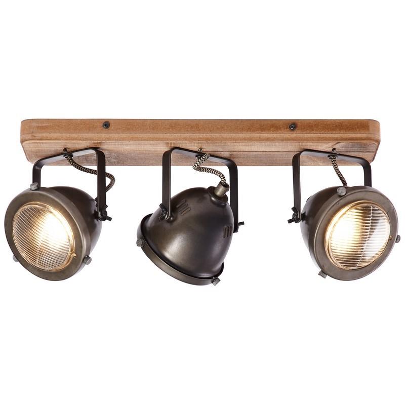 Moderne plafondlamp Elena, Burned Steel, Hout