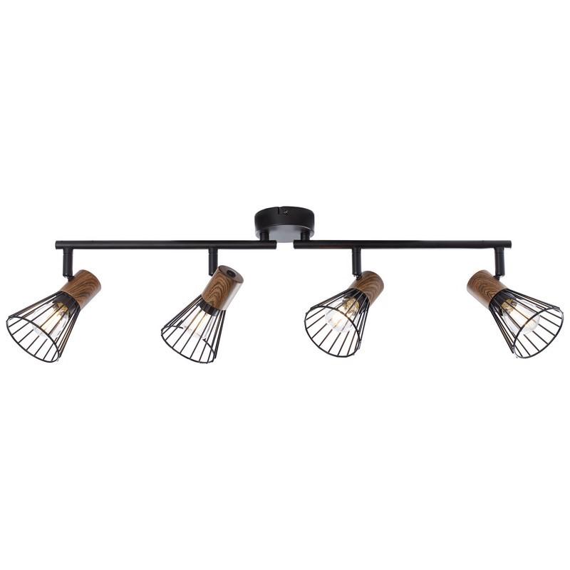 Moderne plafondlamp Floor, Donkerkleurig Hout, Mat Zwart