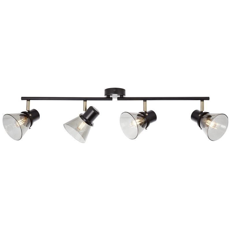 Retro plafondlamp Elif, Zwart, Antiek Messing, Gerookt Glas
