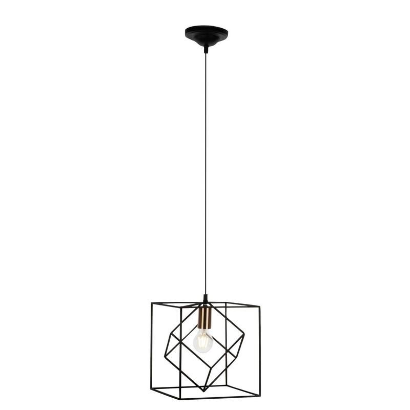 Moderne, Design, Brocante Hanglamp Jilliane - Zwart, Koper