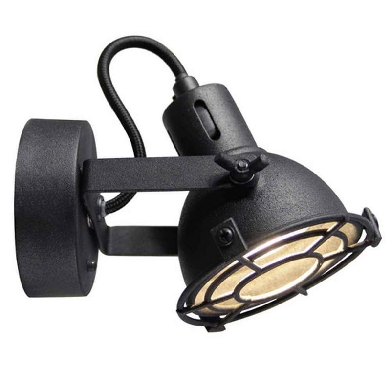 Landelijke wandlamp Alexi, Zwart