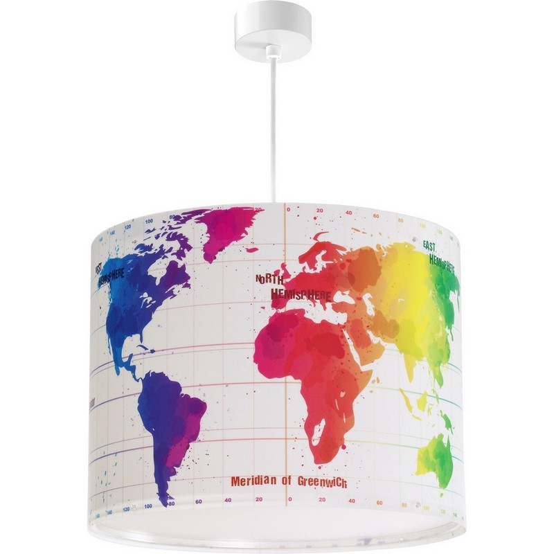 Wereldkaart hanglamp kinderkamer