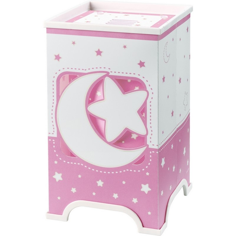 Roze tafellampje meisjes babykamer Maan en sterren