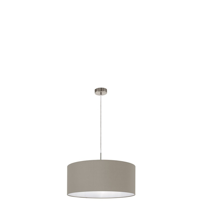 Brede stoffen hanglamp Abano Taupe