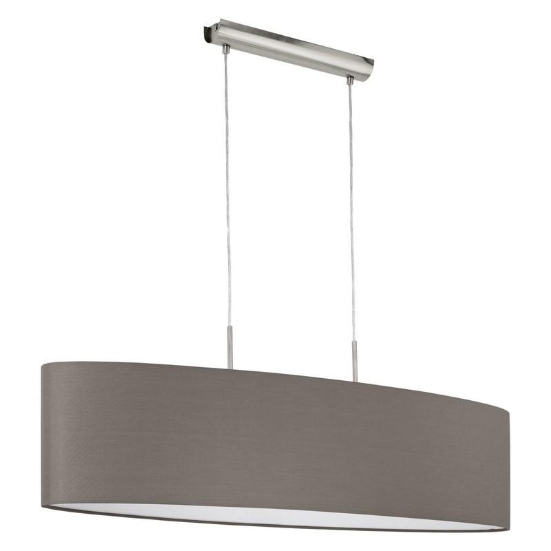 Eettafel hanglamp Abano Antraciet bruine stoffen lampenkap