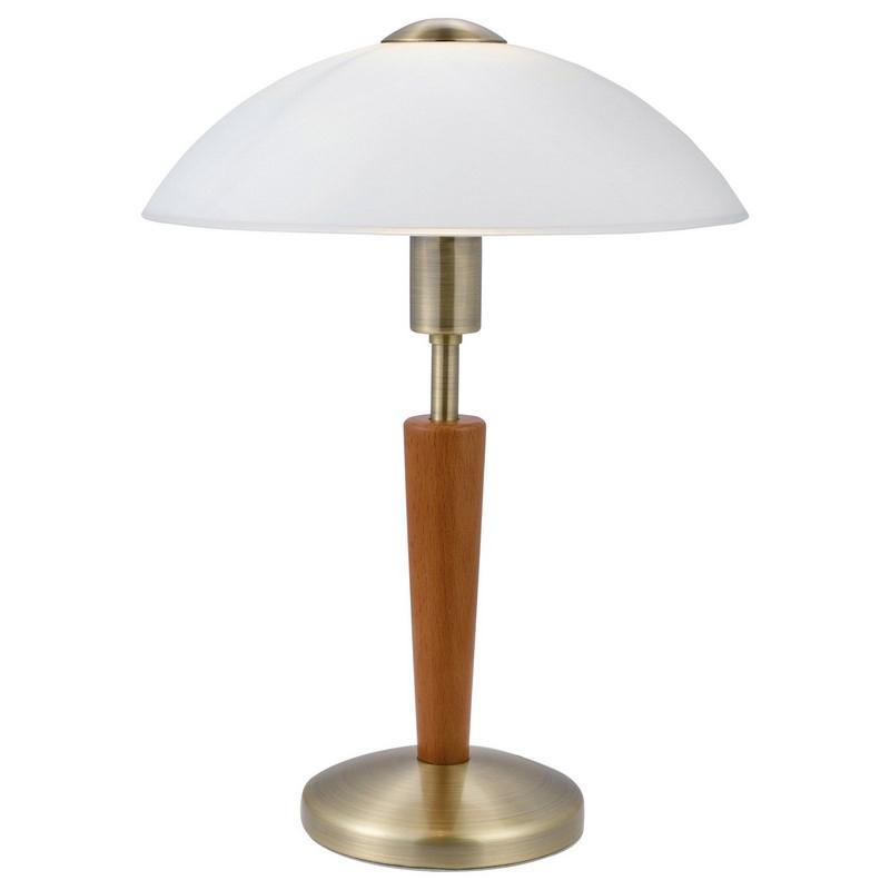 Bronzen tafellamp Adi hout klassiek