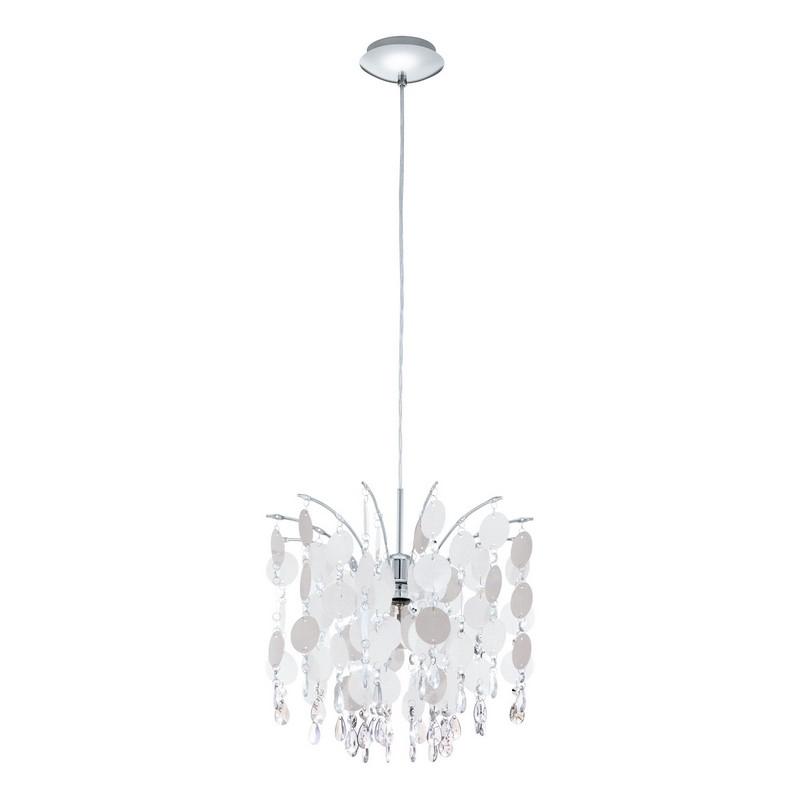 Sfeervolle hanglamp Paglio Wit rondjes Kristallen