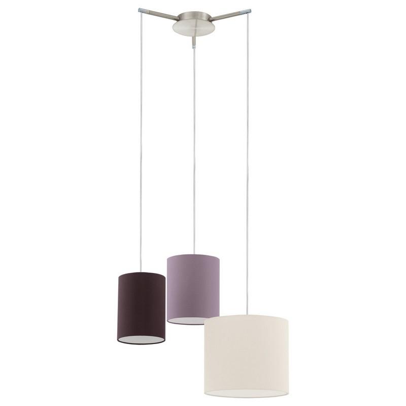 Xavier hanglamp drie gekleurde lampenkappen van stof