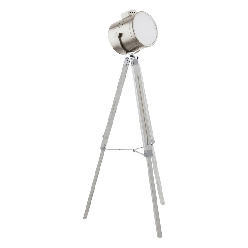 Industrieel Landelijke Houten Stoffen Witte Nikkel vloerlamp Joolz