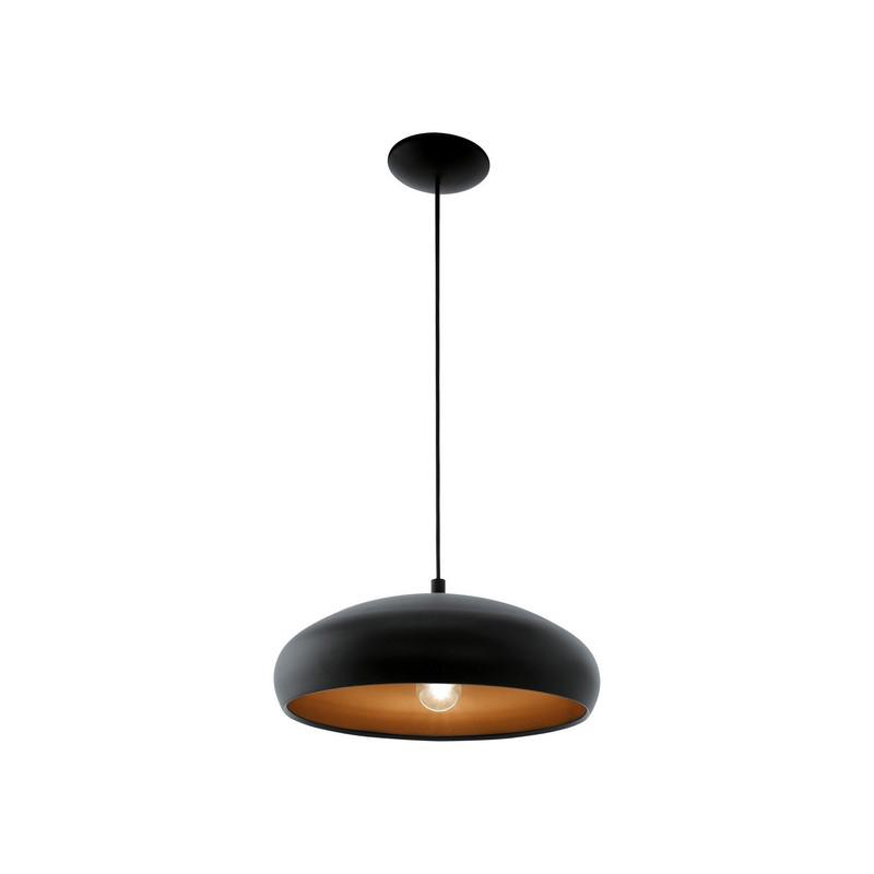 Zwarte moderne hanglamp Egine Koperen binnenzijde