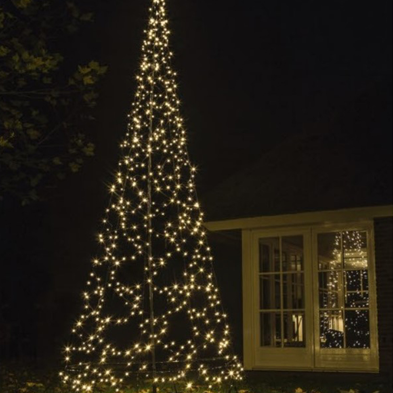4M hoge vlaggenmast kerstboom, 640 lampjes, Inclusief mast!