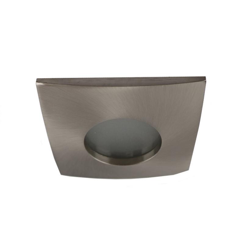 Vierkante badkamer inbouwspot Pelle, geborsteld zilvergrijs