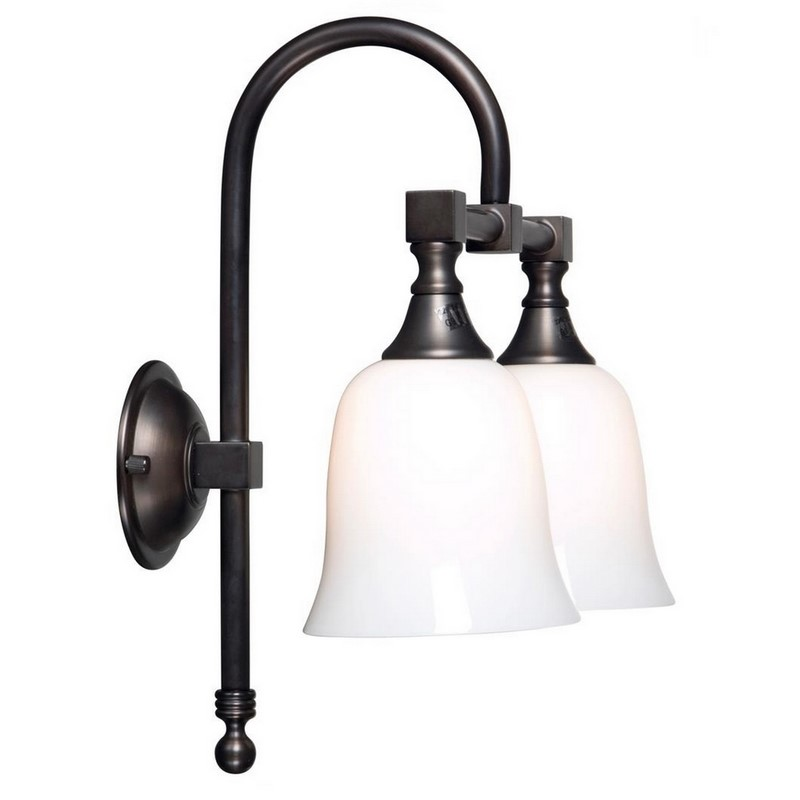 Klassieke dubbele wandlamp Delcia 08, brons