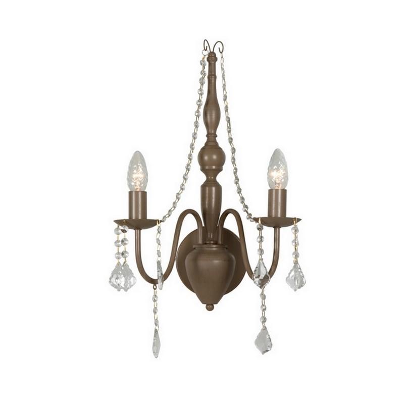 Taupe wandlamp Merlin klassiek, met kristal
