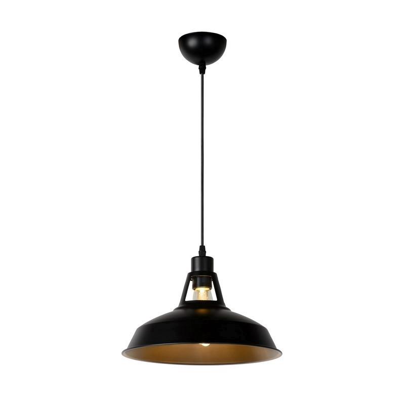 Industriele hanglamp Brassy, Zwart