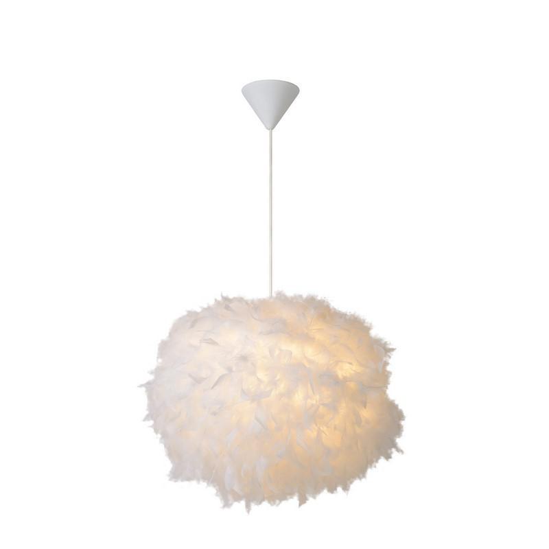Trendy veren hanglamp Goosy, wit