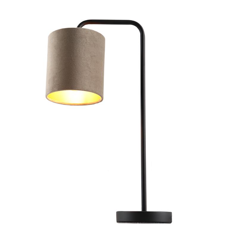 Taupe/goud velours Tafellamp Kristin, om hoek