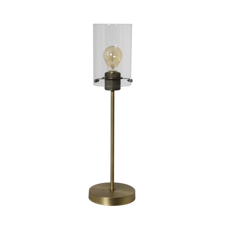Joyce tafellamp, kapje van glas, brons