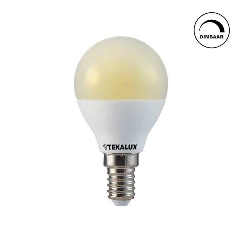 Dimbare Tekalux E14 LED kogellamp, 6,3W, 2700K