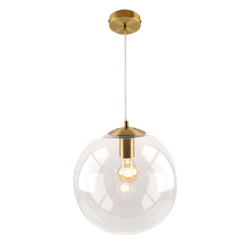 Bol hanglamp Dolf, brons ophangpendel, Transp. glas, 20cm