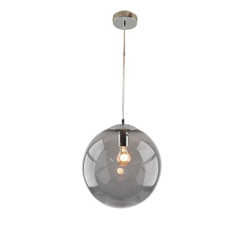 Bol hanglamp Dolf, chroom ophangpendel, rookglas, 40cm