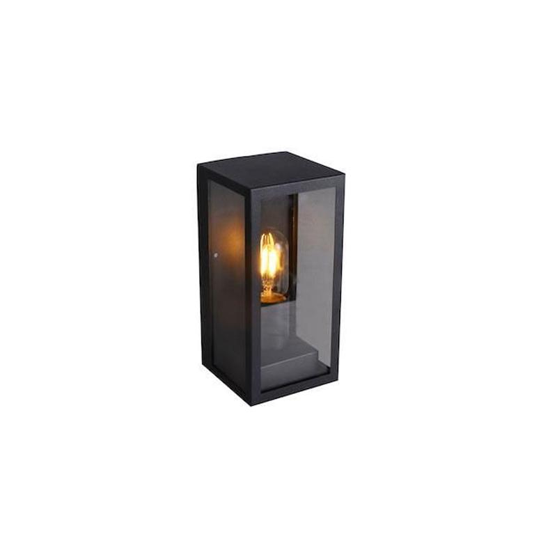 Zwarte buiten wandlamp Randon, transparant glas