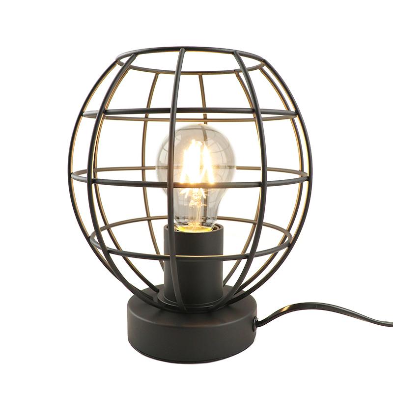 Industriële tafellamp met aan/uit schakelaar Jochem Bolvormig