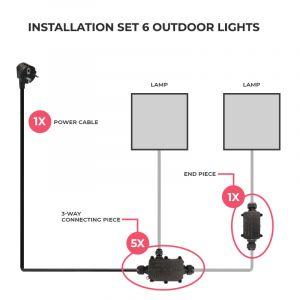 Aansluitset voor 6 buitenlampen