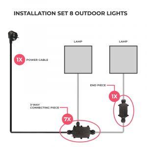 Aansluitset voor 8 buitenlampen