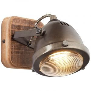 Moderne wandlamp Elena, Burned Steel, Hout