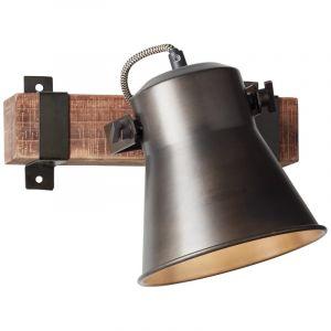 Industriële plafondspot Audrey, zwart, hout