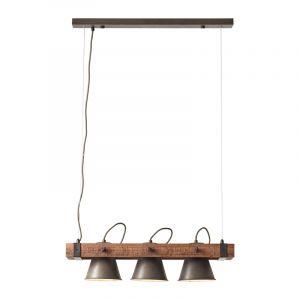 Industriële hanglamp Audrey, zwart, hout