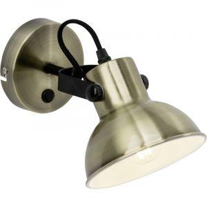 Industriële wandlamp Aisa, Messing en Zwart