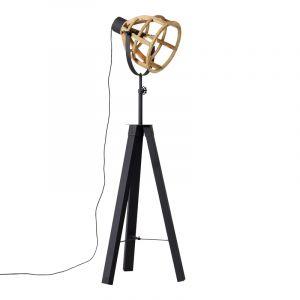 Industriële vloerlamp Amy, zwart, hout, met schakelaar