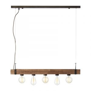 Industriële hanglamp Asli, zwart, hout
