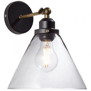 Klassieke wandlamp Lot, Zwart, Antiek Messing, Gerookt Glas