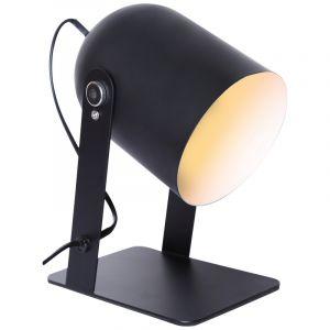 Zwarte Tafellamp Arlette, Metaal, met Aan/uit schakelaar op het snoer