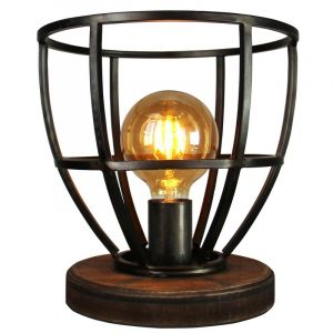 Industriële tafellamp Alissia, Zwart
