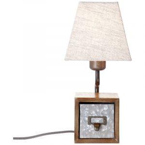 Retro tafellamp Jinte, Antiek Zink, Beige