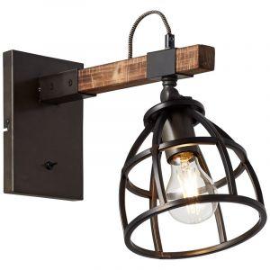 Industriële wandlamp Amy, zwart, hout