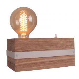 Industriële Tafellamp Gillian, Hout, met Aan/uit schakelaar op het snoer
