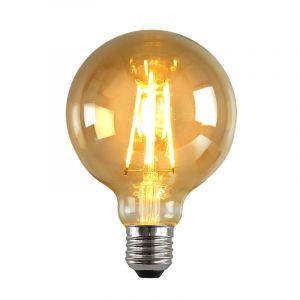 Dimbare E27 LED lamp, G95, 5w, Amber glas, 2200k