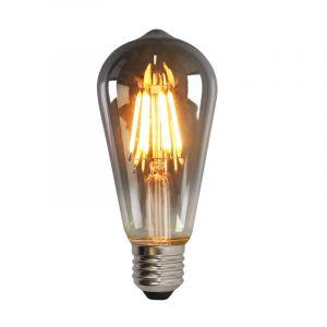 Dimbare Olucia E27 Edison LED lamp, ST58, 5w, Smoke glas, 2200k