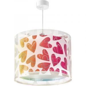 Hartjes hanglamp meisjeskamer - Roze blauw groen