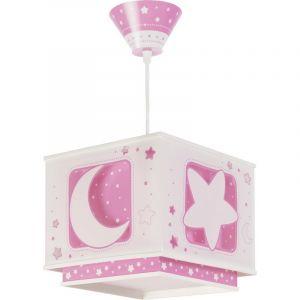Roze hanglampje meisjes babykamer Maan en sterren