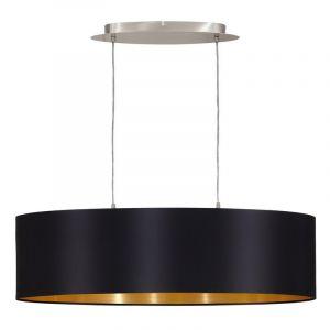 Ovale stoffen eettafel hanglamp Terme Zwart Goud