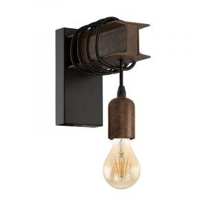 Zwarte landelijke wandlamp, Anton, staal