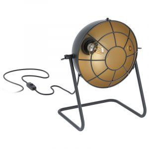 Zwarte industriële tafellamp, Wilmar, staal