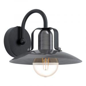 Zwarte landelijke wandlamp, Karine, staal
